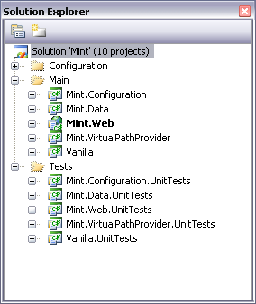 Mint in solution explorer
