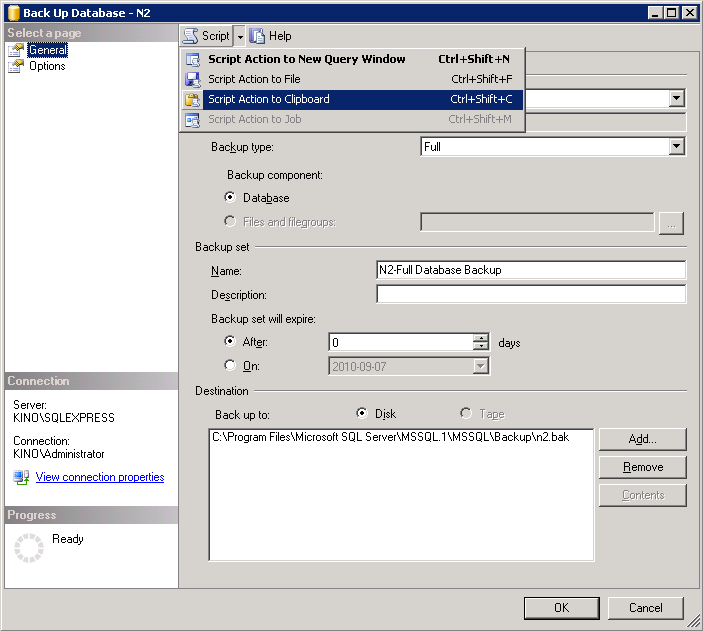 backup dialog of SQL Server Management Studio Express