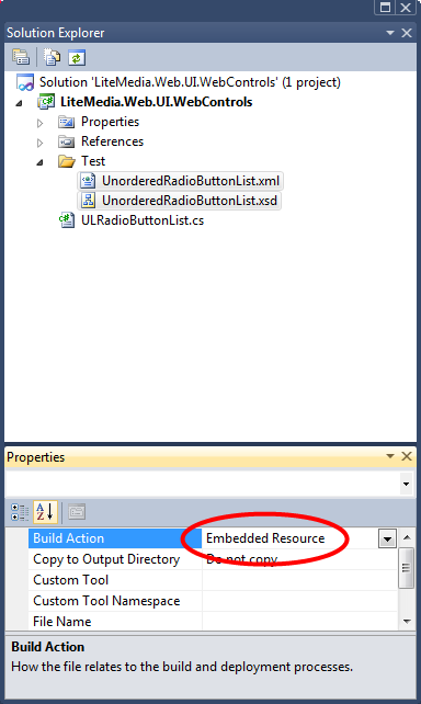 select embedded resource in solution explorer