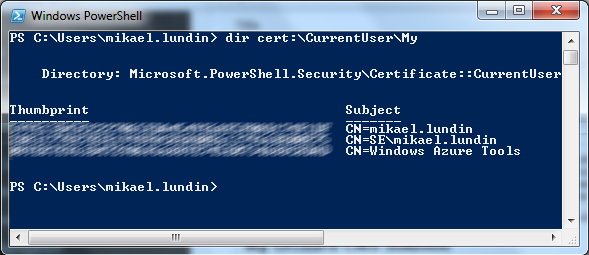 Powershell get all certs for my user
