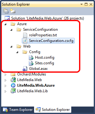 Orchard specific configuration for Azure