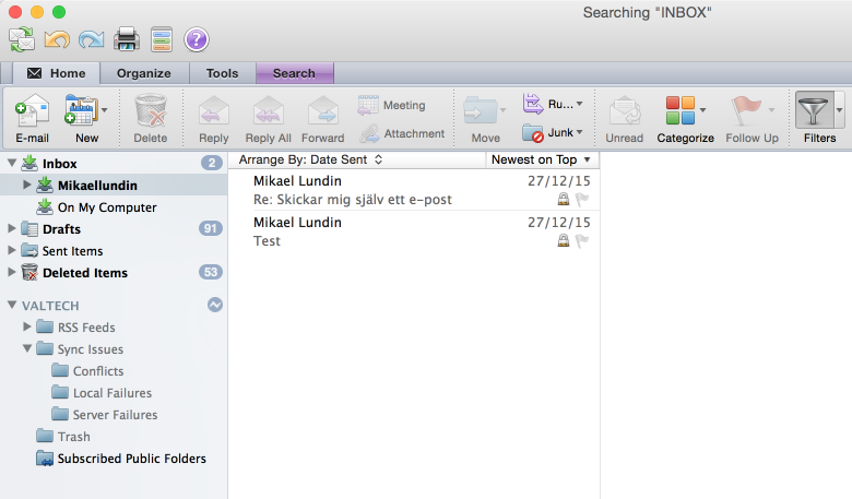 inbox in outlook 2010 for mac
