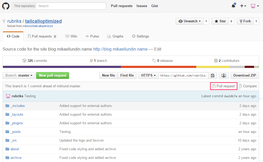 create a pull request on github