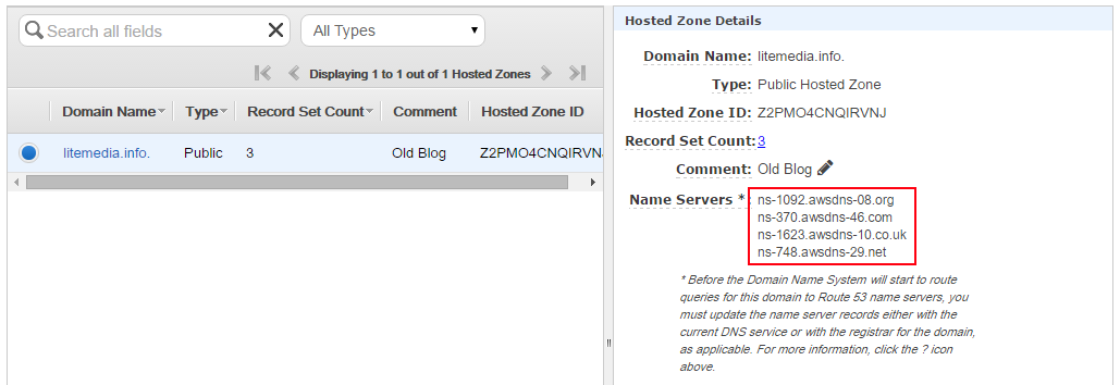 find the nameservers by inspecting the hosted zone
