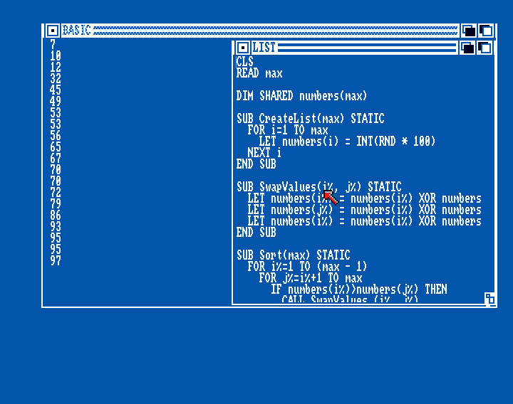 Amiga Basic: Bubblesort