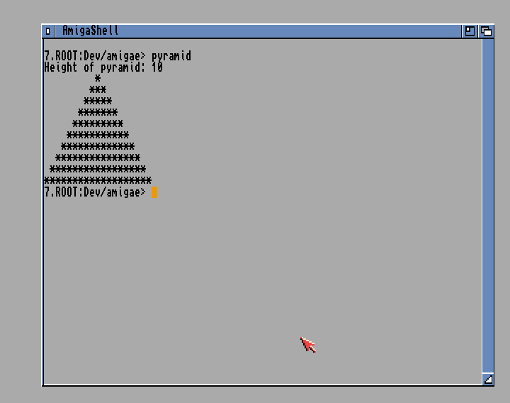 Paint out a pyramid at the CLI prompt using Amiga E