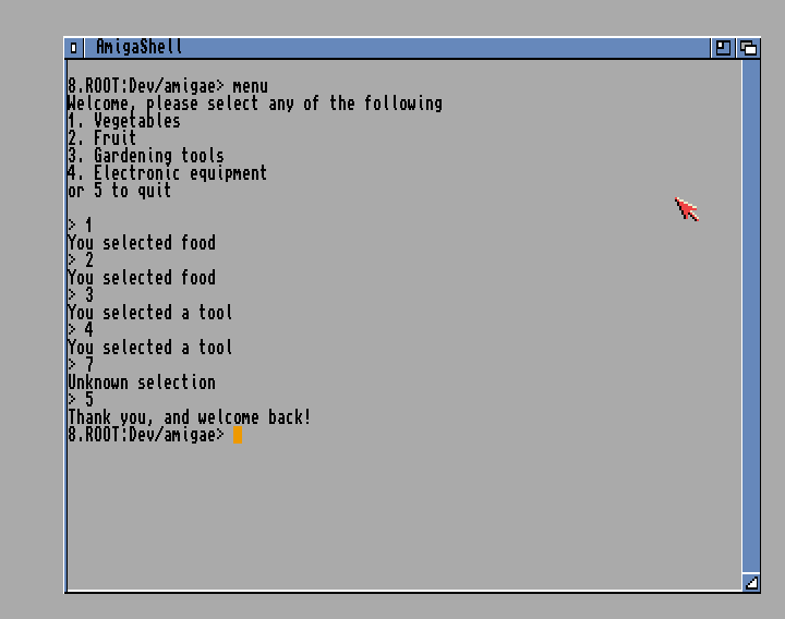 A menu system using Amiga E